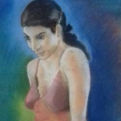 girl picture, 24 x 30 inch, ranjith babu a k,24x30inch,thick paper,paintings,portrait paintings,paintings for bedroom,pastel color,paper,GAL01796529189