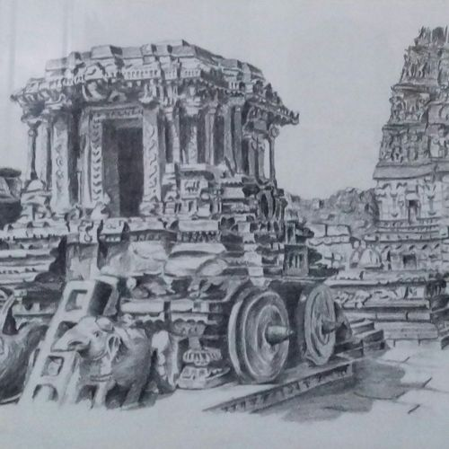 hampi chariot in charcoal, 52 x 32 inch, ranjith babu a k,52x32inch,thick paper,drawings,fine art drawings,paintings for dining room,paintings for living room,paintings for office,paintings for hotel,paintings for school,paintings for hospital,charcoal,paper,GAL01796529191