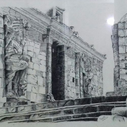 gangai konda chola puram temple charcoal drawing, 69 x 50 inch, ranjith babu a k,69x50inch,thick paper,paintings for dining room,paintings for living room,paintings for office,paintings for hotel,paintings for school,paintings for hospital,fine art drawings,paintings for dining room,paintings for living room,paintings for office,paintings for hotel,paintings for school,paintings for hospital,charcoal,paper,GAL01796529194