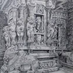 kanchi kailasanathar sculptures charcoal, 13 x 17 inch, ranjith babu a k,13x17inch,thick paper,drawings,fine art drawings,paintings for dining room,paintings for living room,paintings for office,paintings for hotel,paintings for kitchen,paintings for school,paintings for hospital,charcoal,paper,GAL01796529197