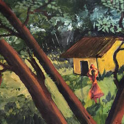 village canvas painting, 11 x 11 inch, savita  gupta,11x11inch,canvas,paintings,landscape paintings,paintings for dining room,paintings for living room,paintings for bedroom,paintings for hotel,paintings for dining room,paintings for living room,paintings for bedroom,paintings for hotel,acrylic color,oil color,pastel color,poster color,watercolor,GAL01608229205