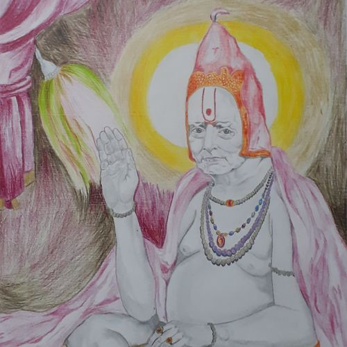 shree swami samarth, 12 x 15 inch, shankar naik,12x15inch,drawing paper,paintings for living room,paintings for hotel,realism drawings,paintings for living room,paintings for hotel,pencil color,paper,GAL0596629211