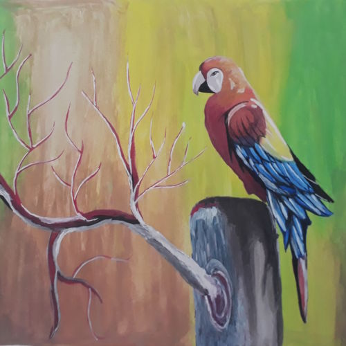 parrot, 12 x 15 inch, shankar naik,12x15inch,paper,animal paintings,paintings for living room,paintings for bedroom,paintings for office,paintings for kids room,paintings for hotel,paintings for living room,paintings for bedroom,paintings for office,paintings for kids room,paintings for hotel,oil color,pastel color,poster color,paper,GAL0596629214