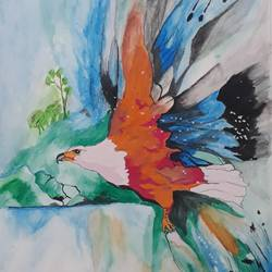 eagle, 12 x 15 inch, shankar naik,12x15inch,paper,paintings,wildlife paintings,paintings for dining room,paintings for living room,paintings for office,oil color,pastel color,poster color,GAL0596629217