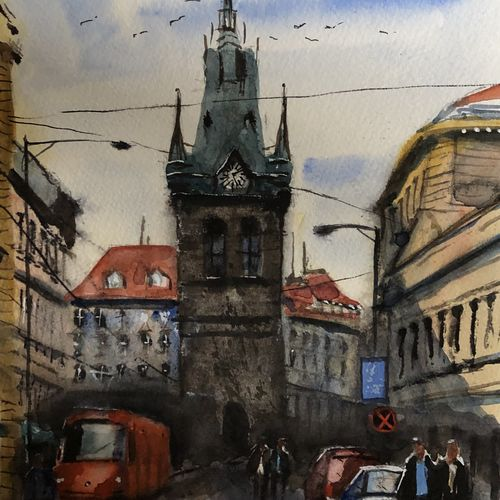 clock tower, 10 x 12 inch, t v ramachandran ,10x12inch,canson paper,paintings,cityscape paintings,paintings for living room,paintings for hotel,paintings for living room,paintings for hotel,watercolor,GAL01799329223