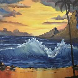 morning sea, 24 x 18 inch, shankhadeep  mondal,24x18inch,canvas,paintings,landscape paintings,paintings for dining room,paintings for living room,paintings for bedroom,paintings for office,paintings for kids room,paintings for hotel,paintings for kitchen,paintings for school,paintings for hospital,acrylic color,GAL01403029229