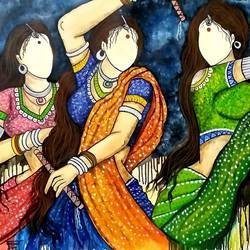 raas1, 36 x 36 inch, mrinal  dutt,36x36inch,canvas,paintings,abstract paintings,figurative paintings,expressionism paintings,contemporary paintings,paintings for dining room,paintings for living room,paintings for bedroom,paintings for office,paintings for hotel,paintings for kitchen,paintings for school,paintings for hospital,acrylic color,GAL01311729232