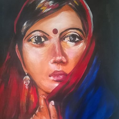 bewildered, 18 x 24 inch, sayantan  ghati ,figurative paintings,paintings for living room,cloth,acrylic color,18x24inch,GAL07702924