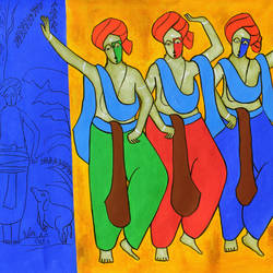 bhangda , 47 x 21 inch, chetan katigar,47x21inch,canvas,paintings,abstract paintings,figurative paintings,cityscape paintings,landscape paintings,modern art paintings,conceptual paintings,religious paintings,still life paintings,nature paintings | scenery paintings,abstract expressionism paintings,art deco paintings,expressionism paintings,impressionist paintings,realism paintings,contemporary paintings,realistic paintings,love paintings,paintings for dining room,paintings for living room,paintings for bedroom,paintings for office,paintings for kids room,acrylic color,GAL026629255