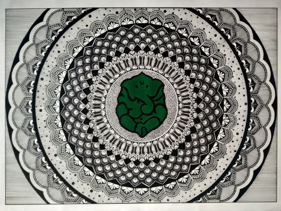 mandala ink art, 30 x 22 inch, ruchita kothari,30x22inch,fabriano sheet,paintings,abstract paintings,conceptual paintings,religious paintings,abstract expressionism paintings,art deco paintings,ganesha paintings | lord ganesh paintings,paintings for dining room,paintings for living room,paintings for bedroom,paintings for office,paintings for hotel,paintings for school,paintings for hospital,pen color,poster color,ball point pen,paper,GAL01697329256