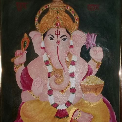 shree ganesha, 16 x 22 inch, dixit solanki ,religious paintings,paintings for living room,canvas,oil,16x22inch,GAL011312927