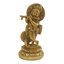brass statue of krishna playing flute with peacock, 1 x 6 inch, vgo cart,1x6inch,canson paper,handicrafts,brass statue,brass,GAL01132729279