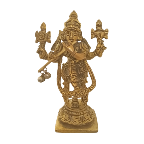 brass statue of krishna playing flute with rama avatars, 2 x 6 inch, vgo cart,2x6inch,canson paper,handicrafts,radhakrishna statue,brass,GAL01132729285