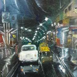 roads of kolkata after rain at night, 8 x 10 inch, rambling tiger,impressionist paintings,paintings for living room,canvas,oil paint,8x10inch,GAL08862930