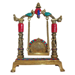 decorative brass julla with multi colour stone work showpiece, 3 x 12 inch, vgo cart,3x12inch,handmade paper,handicrafts,brass statue,brass,GAL01132729301