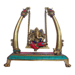 ganesha sitting on decorative brass julla with multi colour stone work showpiece, 4 x 11 inch, vgo cart,4x11inch,handmade paper,handicrafts,brass statue,brass,GAL01132729302
