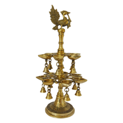attractive brass diya with bells and peacock showpiece, 4 x 19 inch, vgo cart,4x19inch,handmade paper,handicrafts,brass statue,brass,GAL01132729304