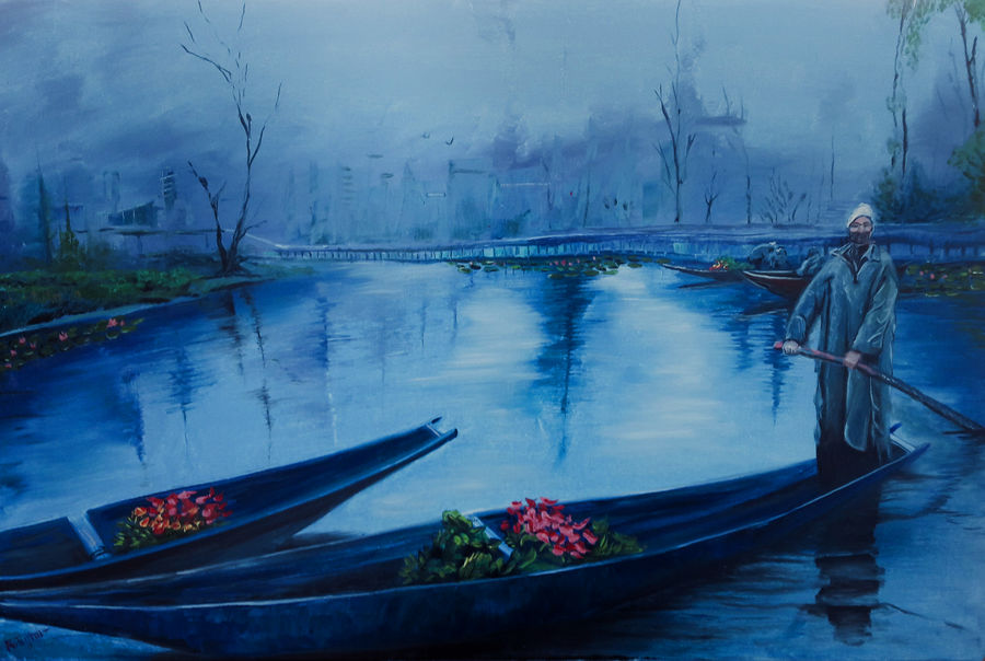 a mirrage of the past, dal lake, 30 x 20 inch, rambling tiger,impressionist paintings,paintings for living room,paintings,landscape paintings,conceptual paintings,nature paintings,realism paintings,realistic paintings,paintings for dining room,paintings for bedroom,paintings for hotel,paintings for hospital,paintings for dining room,paintings for bedroom,paintings for hotel,paintings for hospital,canvas,oil paint,30x20inch,GAL08862931Nature,environment,Beauty,scenery,greenery,water,boat,people,lake,dal lake