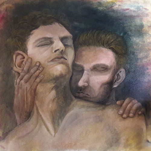 love between men, 20 x 19 inch, rambling tiger,portrait paintings,paintings for bedroom,canvas,oil paint,20x19inch,GAL08862932