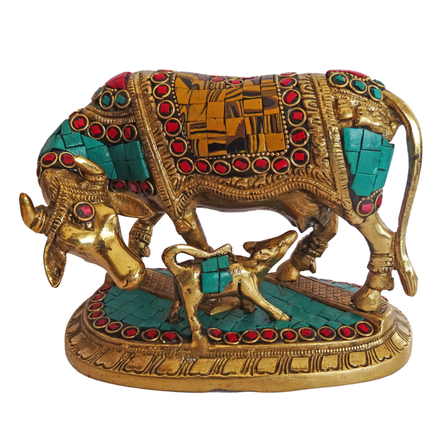 beautiful kamdhenu brass calf and multi colour stone work statue, 3 x 6 inch, vgo cart,3x6inch,handmade paper,handicrafts,brass statue,brass,GAL01132729320