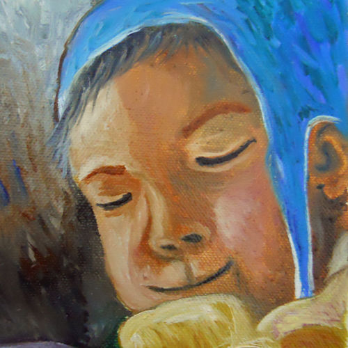 portrait of a child, 5 x 7 inch, rambling tiger,impressionist paintings,paintings for living room,canvas,oil paint,5x7inch,GAL08862933