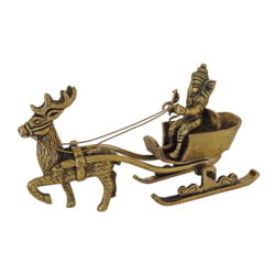 ganesha enjoying ride with deer in santa claus getup brass showpiece, 8 x 5 inch, vgo cart,8x5inch,handmade paper,handicrafts,brass statue,brass,GAL01132729332