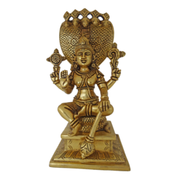 brass vishnu sitting under 5 headed snake statue, 5 x 10 inch, vgo cart,5x10inch,handmade paper,handicrafts,brass statue,brass,GAL01132729334
