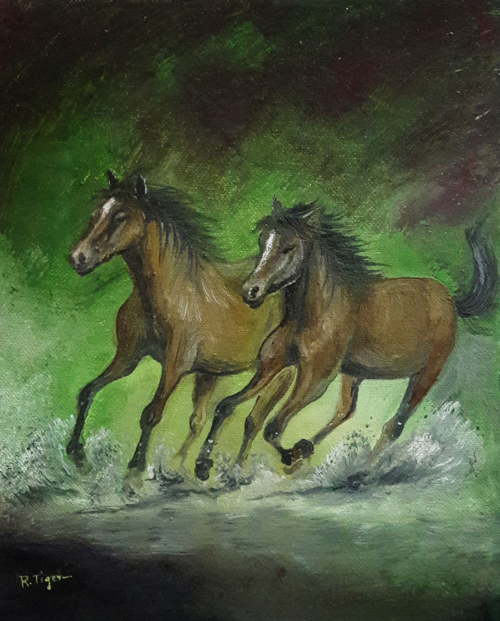 Beautiful horses running gracefully through the watery fields