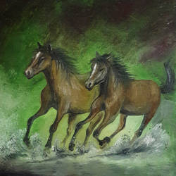 horses  3, 8 x 10 inch, rambling tiger,realism paintings,paintings for living room,horse paintings,canvas,oil paint,8x10inch,GAL08862934