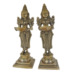 beautiful pair ladies holding diya brass statue, 6 x 12 inch, vgo cart,6x12inch,handmade paper,handicrafts,brass statue,brass,GAL01132729341