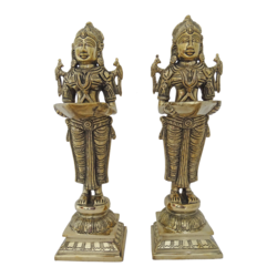 decorative pair ladies holding diya brass statue, 6 x 13 inch, vgo cart,6x13inch,handmade paper,handicrafts,brass statue,brass,GAL01132729343