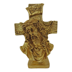 brass jesus in cross face statue with inri symbol, 3 x 8 inch, vgo cart,3x8inch,canson paper,handicrafts,brass statue,brass,GAL01132729349