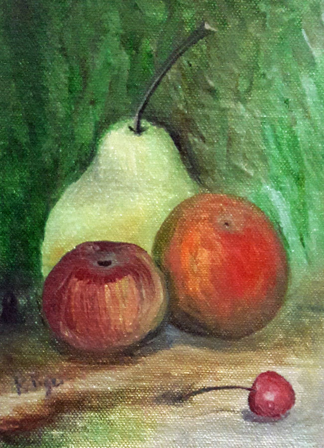 still life compositon of fruits, 5 x 7 inch, rambling tiger,still life paintings,paintings for dining room,paintings,canvas,oil paint,5x7inch,GAL08862935