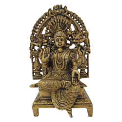 brass antique lakshmi with decorative arch statue, 4 x 8 inch, vgo cart,4x8inch,handmade paper,handicrafts,brass statue,brass,GAL01132729352