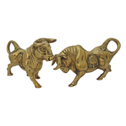 brass pair spanish fighting bull statue, 8 x 5 inch, vgo cart,8x5inch,handmade paper,handicrafts,animal statues,brass,GAL01132729356