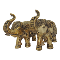pair brass well designed asian elephant statue, 12 x 10 inch, vgo cart,12x10inch,handmade paper,brass statue,brass,GAL01132729358