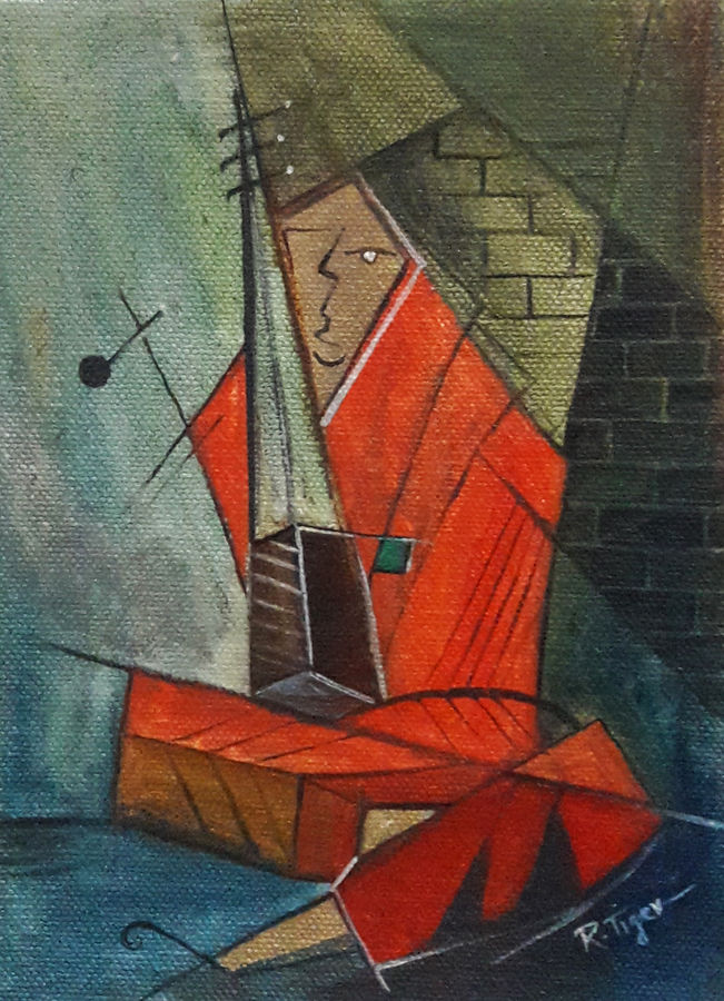 woman playing ektara, 5 x 7 inch, rambling tiger,cubist paintings,paintings for office,paintings,canvas,oil paint,5x7inch,GAL08862936