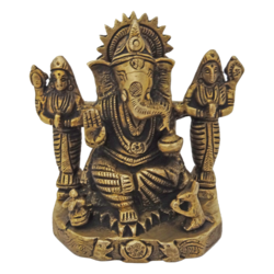 brass antique lord ganesha with devi's statue, 3 x 5 inch, vgo cart,3x5inch,thick paper,brass statue,brass,GAL01132729360