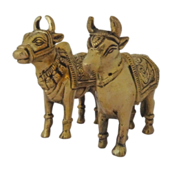decorative pair of cow and bullock showpiece, 5 x 4 inch, vgo cart,5x4inch,thick paper,brass statue,brass,GAL01132729376