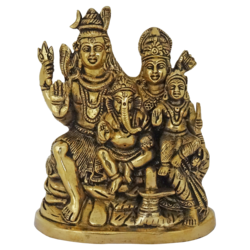 religious brass hindu god shiva with goddess parvathi, ganesha and murugan statue, 3 x 8 inch, vgo cart,3x8inch,canvas board,handicrafts,religious statues,brass,GAL01132729379