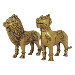 brass lion pair set showpiece, 5 x 4 inch, vgo cart,5x4inch,thick paper,handicrafts,animal statues,brass,GAL01132729386