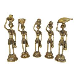 brass tribal ladies statue set, 2 x 8 inch, vgo cart,2x8inch,handmade paper,handicrafts,brass statue,brass,GAL01132729397