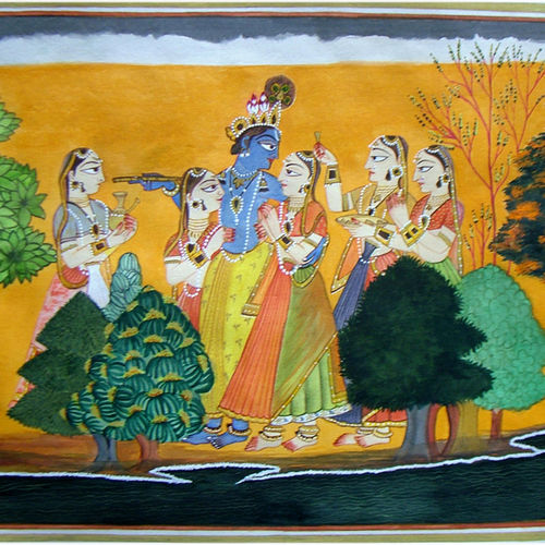 krishna and gopies, 21 x 14 inch, neeraj parswal,folk art paintings,paintings for dining room,radha krishna paintings,thick paper,watercolor,21x14inch,GAL09294
