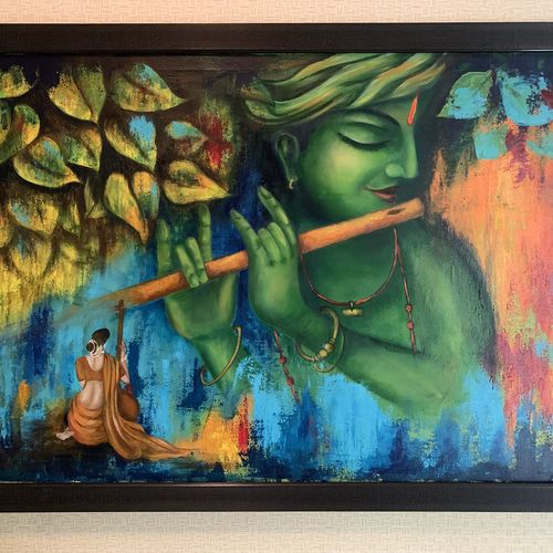 krishna, 36 x 24 inch, monisha  singhal,36x24inch,canvas,paintings,abstract paintings,figurative paintings,modern art paintings,conceptual paintings,religious paintings,portrait paintings,abstract expressionism paintings,radha krishna paintings,contemporary paintings,paintings for dining room,paintings for living room,paintings for office,paintings for hotel,acrylic color,GAL0473829416