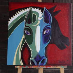 horse painting, 24 x 24 inch, savita  gupta,24x24inch,canvas,paintings,figurative paintings,paintings for dining room,paintings for living room,acrylic color,GAL01608229421