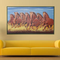 running horse painting, 70 x 20 inch, savita  gupta,70x20inch,canvas,paintings,horse paintings,paintings for dining room,paintings for living room,acrylic color,GAL01608229422