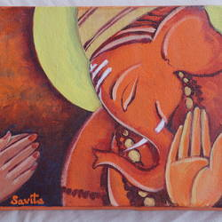 lord ganesha, 10 x 11 inch, savita  gupta,10x11inch,canvas,paintings,ganesha paintings | lord ganesh paintings,acrylic color,GAL01608229426