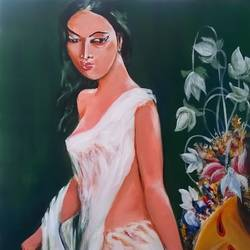 jealousy, 30 x 36 inch, sayantan  ghati ,figurative paintings,paintings for living room,canvas,acrylic color,30x36inch,GAL07702943