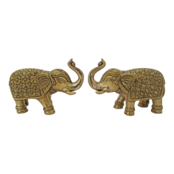 brass pair of decorative elephant statue set, 6 x 4 inch, vgo cart,6x4inch,handmade paper,handicrafts,animal statues,brass,GAL01132729431