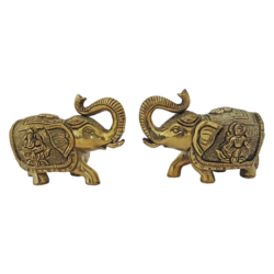 brass pair of decorative elephant statue set, 5 x 4 inch, vgo cart,5x4inch,handmade paper,handicrafts,animal statues,brass,GAL01132729432